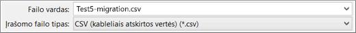 """Rodo parinktį Įrašyti kaip CSV programoje """"Excel"""""""