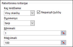 Tikrinimo kriterijų dialogo langas