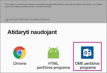 "OME peržiūros programa su ""Android"" el. pašto programa 2"