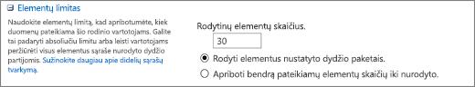 Rodytinų elementų skaičiaus nustatymas puslapyje Rodinio parametrai