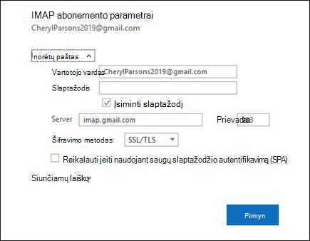Pasirinkite serverio parametrus norite pakeisti savo vartotojo vardą ir slaptažodį, serverio parametrus.