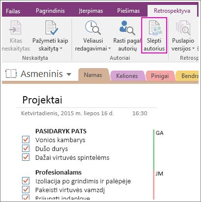 """Mygtuko Slėpti autorius programoje """"OneNote 2016"""" ekrano nuotrauka."""