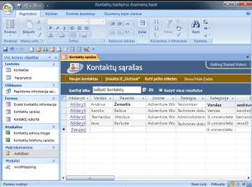 Kontaktų valdymo duomenų bazę