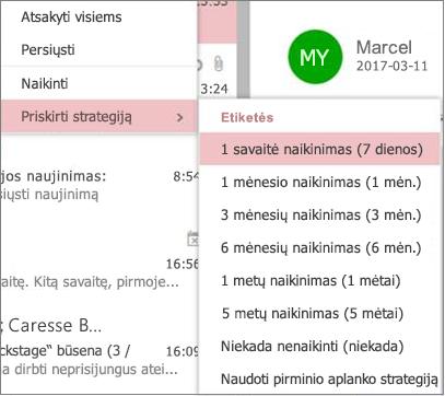"""""""Outlook"""" žiniatinklio """"Outlook"""" grupių išsaugojimo strategijų pavyzdžių ekrano nuotrauka"""