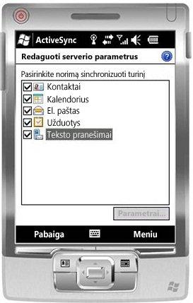"""""""Windows Mobile 6.5"""" pažymėkite žymės langelį Teksto pranešimai"""