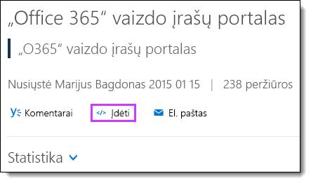 """""""Office 365"""" vaizdo įrašo įdėjimo kodą"""