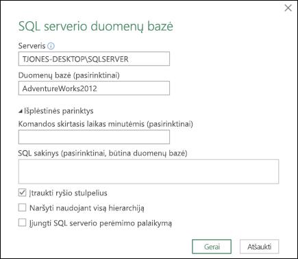 Power Query SQL serverio duomenų bazės ryšio dialogo langas
