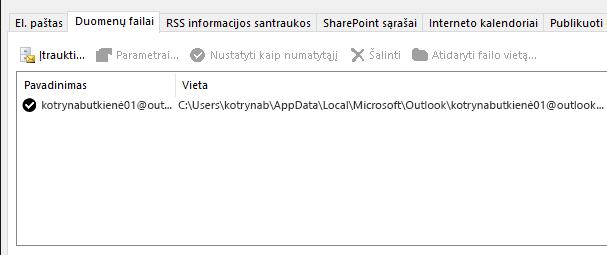 """Skirtukas duomenų failai, """"Outlook"""" abonemento parametrų, kurie rodo vietą """"Outlook"""" duomenų failus, pavadintą vartotojas"""