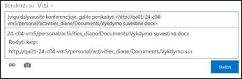 Dokumento URL, įklijuotas į naujienų teikimo skelbimą