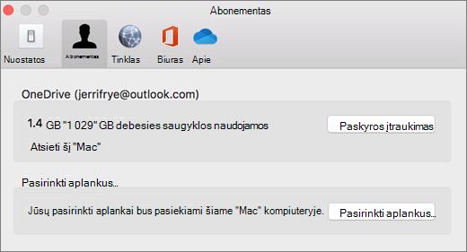 """Paskyros įtraukimo į """"OneDrive"""" nuostatas """"Mac"""" ekrano nuotrauka"""