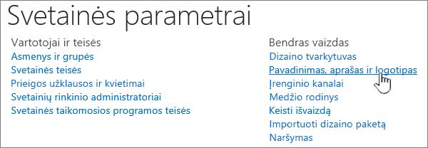 Svetainės parametrai naudojant pavadinimą, aprašą, pažymėtas logotipas