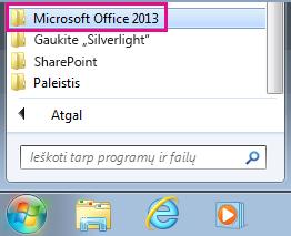"""""""Office 2013"""" grupė, esanti """"Windows 7"""" dalyje Visos programos"""