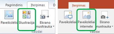 """Norėdami įterpti internetinių paveikslėlių, anksčiau vadinamų iliustracijomis, naudokite """"Office"""" juostelės skirtuką Įterpimas."""
