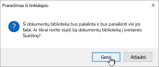Patvirtinimo dialogo langas naikinant į biblioteką