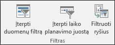 """Duomenų filtro parinktis įterpti iš """"PivotTable"""" Įrankiai > analizuoti > filtras"""