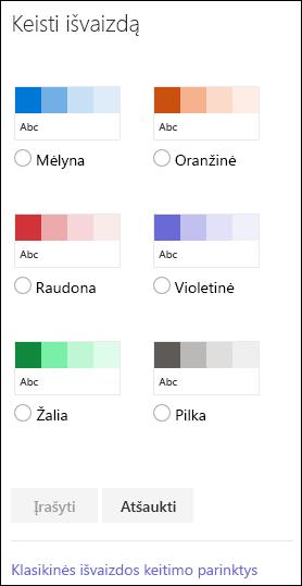 """Ekrano kopija, kurioje matomos """"SharePoint"""" spalvų parinktys, skirtos keisti svetainės išvaizdą."""