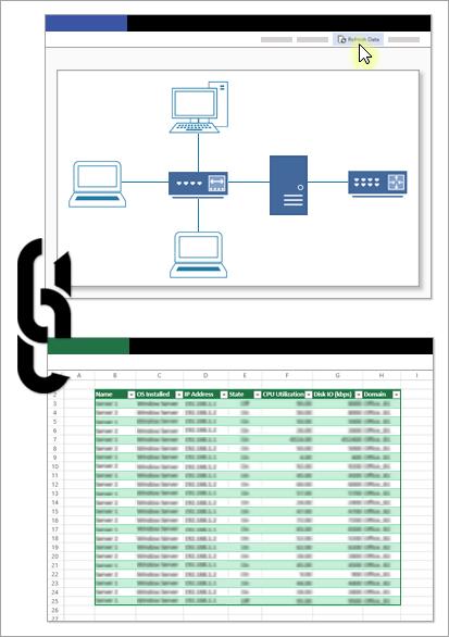"""Koncepcinis paveikslėlis, kuriame vaizduojamas ryšys tarp """"Visio"""" failo ir duomenų šaltinio."""
