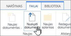 Nusiųsti dokumentą mygtukas juostelėje