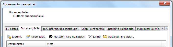 Skirtuke Duomenų failai rodomos visos jūsų paskyros.