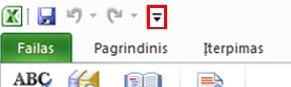"""""""Excel"""" sparčiosios prieigos įrankių juostos komanda"""