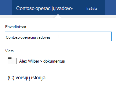 Dialogo langas failų operacijos suaktyvinamas spustelėjus dokumento pavadinimą lango viršuje.
