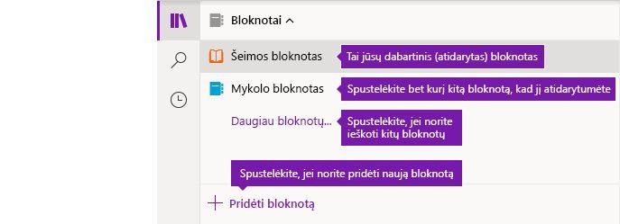 """Bloknotų sąrašas """"OneNote"""", skirtoje """"Windows 10"""""""