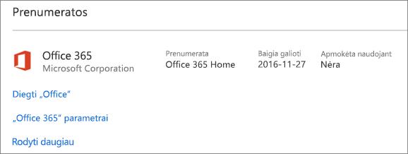 """Jei """"Office 365"""" bandomoji versija buvo įdiegta jūsų naujame asmeniniame kompiuteryje, ji baigs galioti nurodytą dieną"""