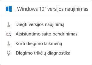 """""""Windows"""" naujinimo 10 kortelė administravimo centre."""