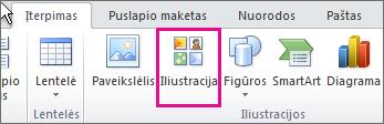 """""""Office 2010"""" iliustracijos įterpimas"""
