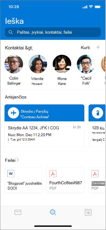 """Ieškos naudojimas """"Outlook Mobile"""""""