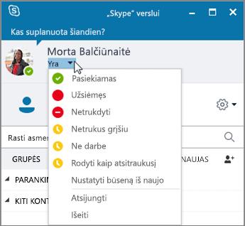 """Ekrano nuotrauka, vaizduojanti """"Skype"""" verslui langą su atidarytu meniu Būsena."""