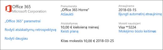 """Ekrano kopija paslaugos ir prenumeratos puslapyje išsami prenumeratos informacija, skirta """"Office 365 Home"""" prenumeratos."""