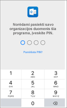 """Įveskite savo """"iOS"""" įrenginio PIN, kad pasiektumėte """"Office"""" programas."""