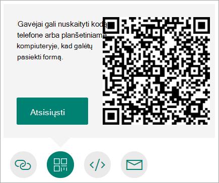 Siųskite QR kodą į savo telefoną, kad gavėjai galėtų jį nuskaityti telefone ar planšetiniame kompiuteryje