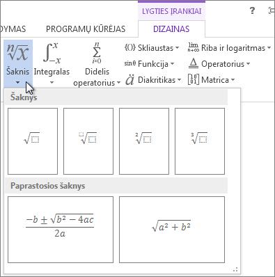 Šaknies matematinės struktūros