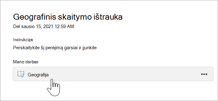 """mokinio patirties ekrano nuotrauka. tekste rašoma :""""Geography reading passage, Due january 15th 2021 12:59 AM, instructions: please read this passage out loud and turn in, my work, a button that reads Geography."""