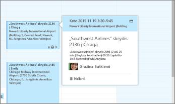 """""""Outlook"""", kurioje rodoma skrydžio informacija, ekrano kopija."""