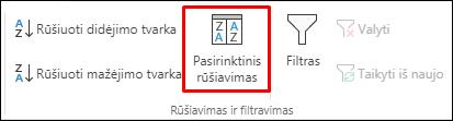 """""""Excel"""" pasirinktinio rūšiavimo parinktis skirtuke Duomenys"""