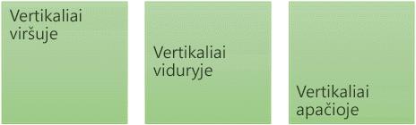 Trys vertikalios teksto lygiuotės parinktys: viršuje, viduryje ir apačioje