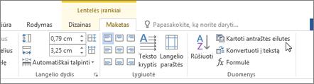 Ekrano kopijoje parodyta žymiklis, užvestas parinktį Kartoti antraštės eilutes lentelės įrankiai skirtuko Maketas grupėje duomenys.