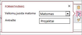 Žiniatinklio duomenų lapo rodinio dialogo langas Formatavimas