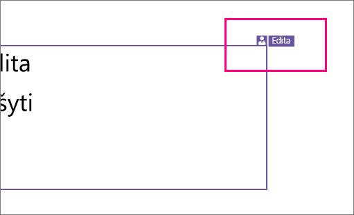 """Rodo piktogramą, kad kažkas dirba su """"PowerPoint 2016 for Windows"""" skaidrės sekcija"""