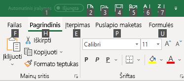 """""""Excel"""" juostelės sparčiųjų klavišų patarimai"""