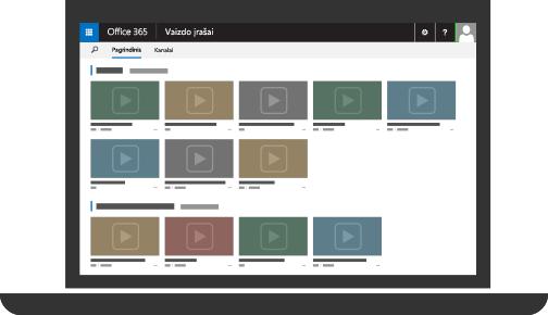 """""""Office 365"""" vaizdo įrašų portalas su keliais nusiųstais vaizdo įrašais"""
