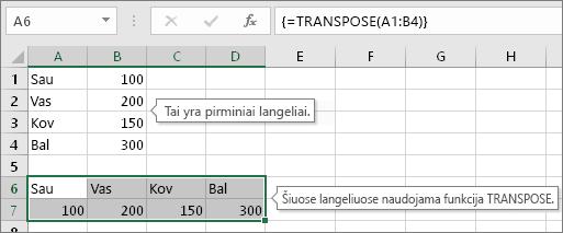 Pradiniai langeliai viršuje, langeliai su funkcija TRANSPOSE apačioje