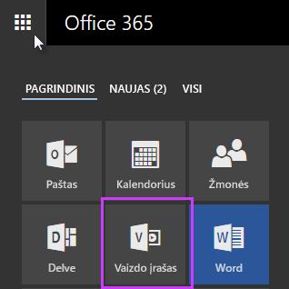 """""""Office 365"""" vaizdo įrašų portalo piktograma taikomųjų programų vykdyklėje"""