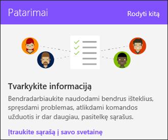 SharePoint Online svetainės naudojimo patarimai