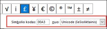 Į lauką nurodoma, kad tai yra Unicode simbolio