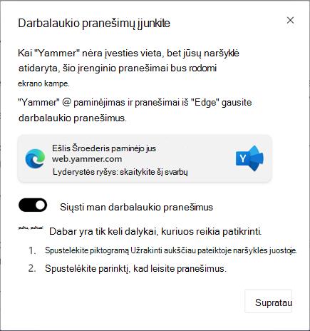 Ekrano nuotrauka, kurioje rodomas darbalaukio pranešimų įgalinimas