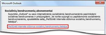 """Saitas į """"Outlook"""" socialinės jungties tiekėjo puslapį"""